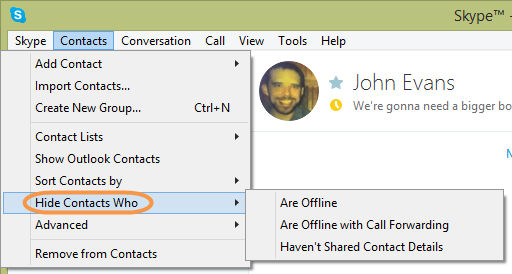 how to get online contacts in skype
