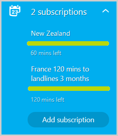The Settings option next to the calling subscriptions for New Zealand and United Kingdom on the Skype account webpage.