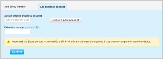 """Die Registerkarte """"Unternehmenskonto hinzufügen"""" in Skype Manager mit der Schaltfläche """"Bestätigen"""""""