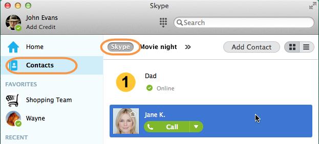 Contactos y Skype seleccionados en la ventana principal de Skype.