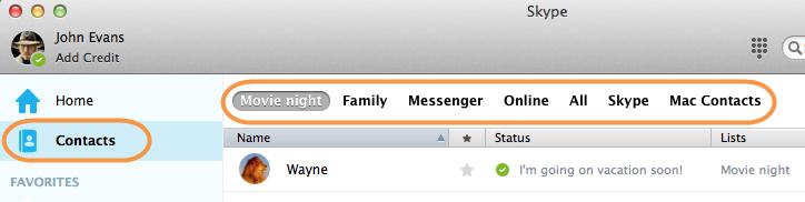 Options Skype et Contacts sélectionnées