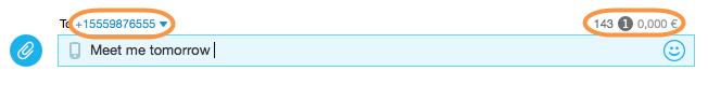 Cuadro de chat con el número de caracteres, precio del mensaje y teléfono del destinatario