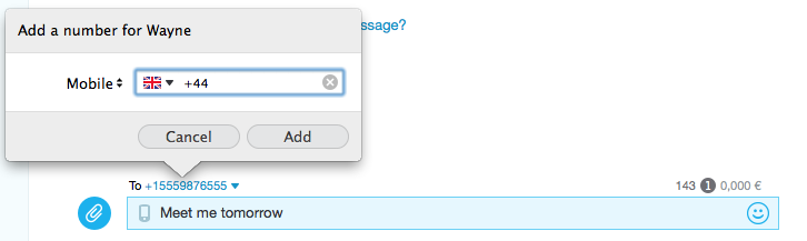 Cuadro de chat con la ventana Añadir número