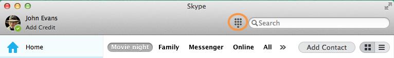 Icono de teclado de marcado seleccionado junto al cuadro Buscar