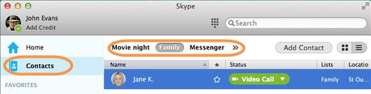 Onglet Contacts sélectionné dans la barre latérale et liste Skype sélectionnée dans la barre de la liste de contacts.