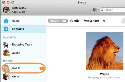 Um contato selecionado na barra lateral em Recente para abrir a janela de conversa.