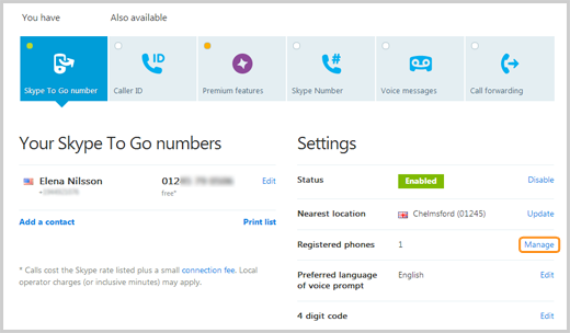 The Manage option selected in the Skype to Go Number tab, next to Registered phones.