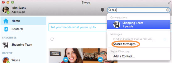 How do i find a file that ive been sent in skype for mac os x type what youre looking for in the global search field then click search messages ccuart Choice Image