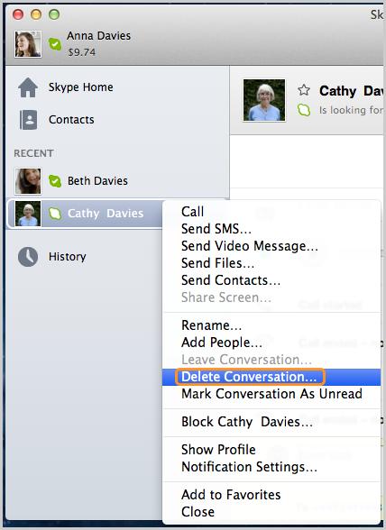 A opção Excluir Conversa selecionada na lista exibida depois de clicar com o botão direito do mouse em uma conversa.