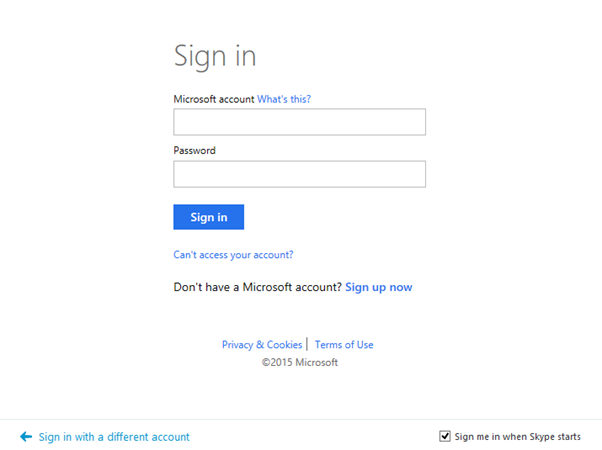 Microsoft account sign-in screen