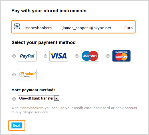 Selecting 'Moneybookers' under 'Pay with your stored instruments', then clicking 'Next'