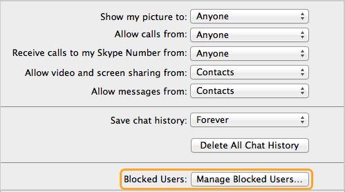 Utilizadores bloqueados: Gerir Utilizadores Bloqueados selecionados no painel de Privacidade
