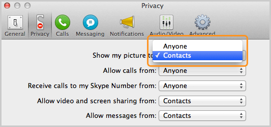 Contacts selected from the list next to Show my picture to, in the Privacy panel.