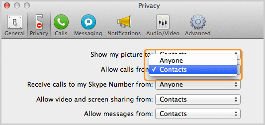 Privacy panel with the option Contacts selected from the list next to Allow calls from