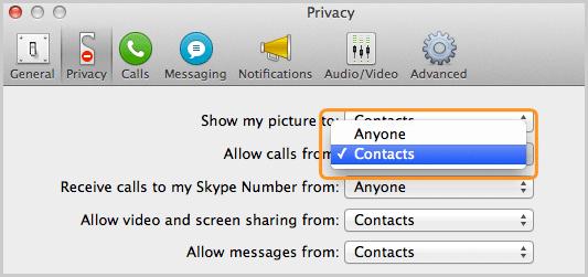 Panel Privacidad con la opción Contactos seleccionada en la lista que está junto a Permitir llamadas de.