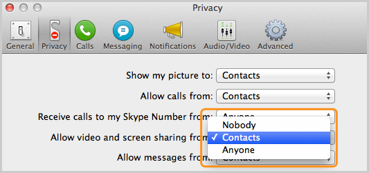 Privacy panel with the Contacts option selected from the list next to Allow video and screen sharing from