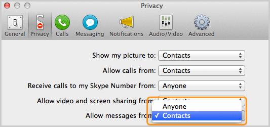 Panel Privacidad con la opción Contactos seleccionada en la lista que está junto a Recibir mensajes de.