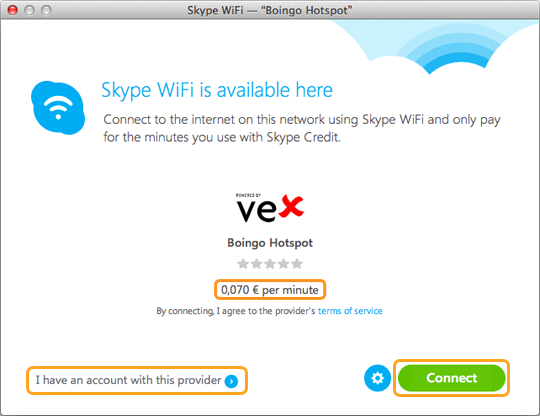Skype WiFi toimii täällä -ikkuna, jossa näkyy Internet-yhteyden minuuttihinta ja jossa Minulla on tältä palveluntarjoajalta saatu tili- ja Yhdistä-valinnat näkyvät valittuina.