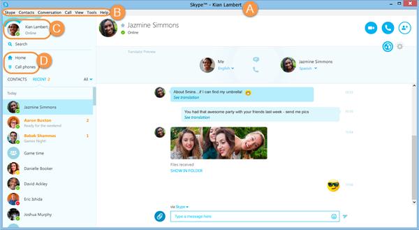 Il Nome Skype, la barra dei menu, la barra di stato e la barra degli strumenti di Skype nella finestra principale di Skype.