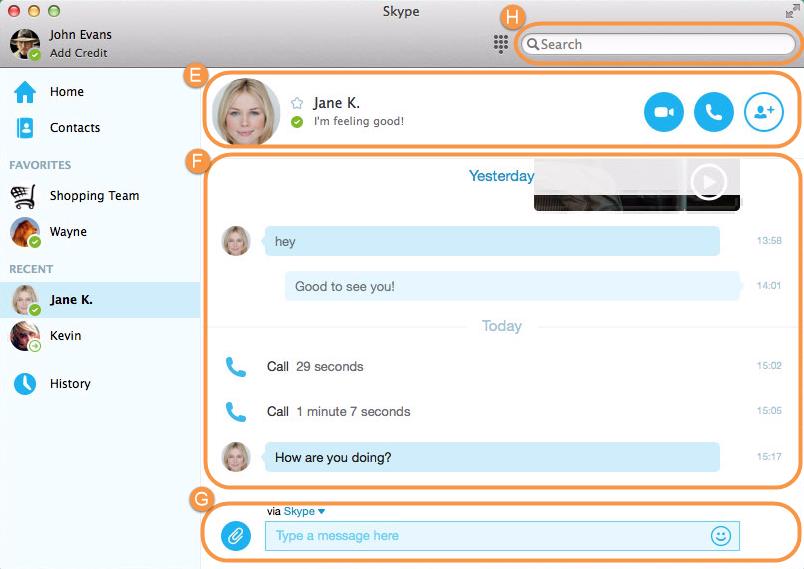 Finestra principale di Skype