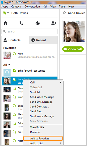 Add to Favorites selected from the list displayed after right-clicking the contact.