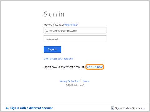 Экран регистрации в Skype с помощью учетной записи Майкрософт.