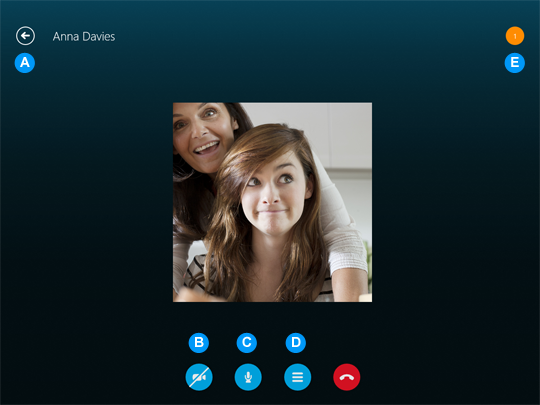 The Skype call screen.