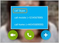 Opzione chiama Skype selezionata dall'elenco che compare dopo aver selezionato il pulsante di chiamata se un contatto ha un numero di telefono associato al proprio account.