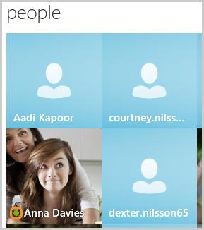 Contatti visualizzati nella schermata Skype Home in persone.