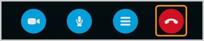Opzioni di chiamata con il pulsante Termina chiamata selezionato.