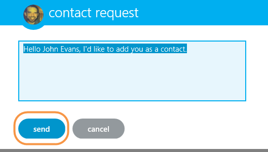 A filled-in contact request message box and the send button.