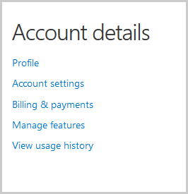 Account details window with options to be selected to view and change your account details