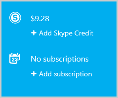 Skypeクレジットや月額プランを購入するために選択する「Skypeクレジットを追加」と「月額プランを追加」オプション