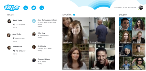 The Skype home screen.