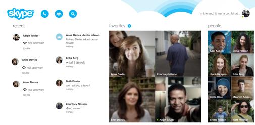 The Skype home screen.
