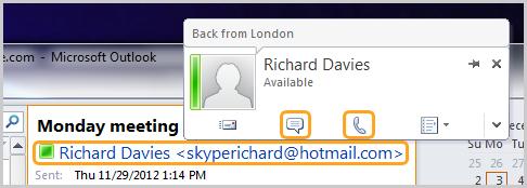 Karta kontaktów Skype'a w Outlooku z ikonami wiadomości i rozmowy.