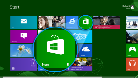 The Store tile in the Skype for Windows 8 Start screen.
