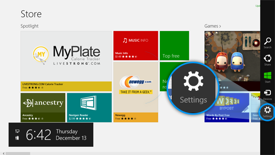 The Settings charm displayed on the right side of the Microsoft Store screen.