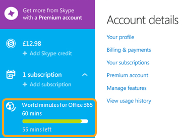 Section relative aux abonnements dans laquelle sont affichées les minutes utilisées et restantes, sous Minute monde - Office 365.