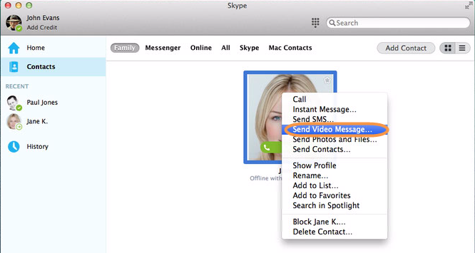 The Send Video Message option selected from the list that appears after right-clicking a contact in Skype.