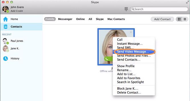 Skypeの連絡先を右クリックした後に表示されるリストから「ビデオメッセージを送信」オプションを選択した状態。