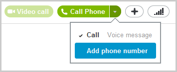 The Add phone number option selected after clicking the down arrow on the Call Phone button.