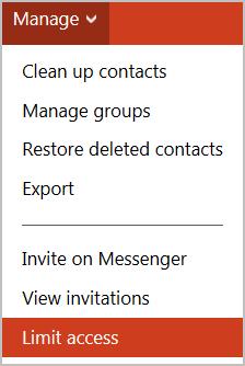 Élément Limit access (Limiter l'accès) sélectionné dans le menu déroulant.