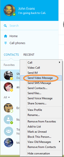 The Send Video Message option selected from the list of options that appears after right-clicking a contact.