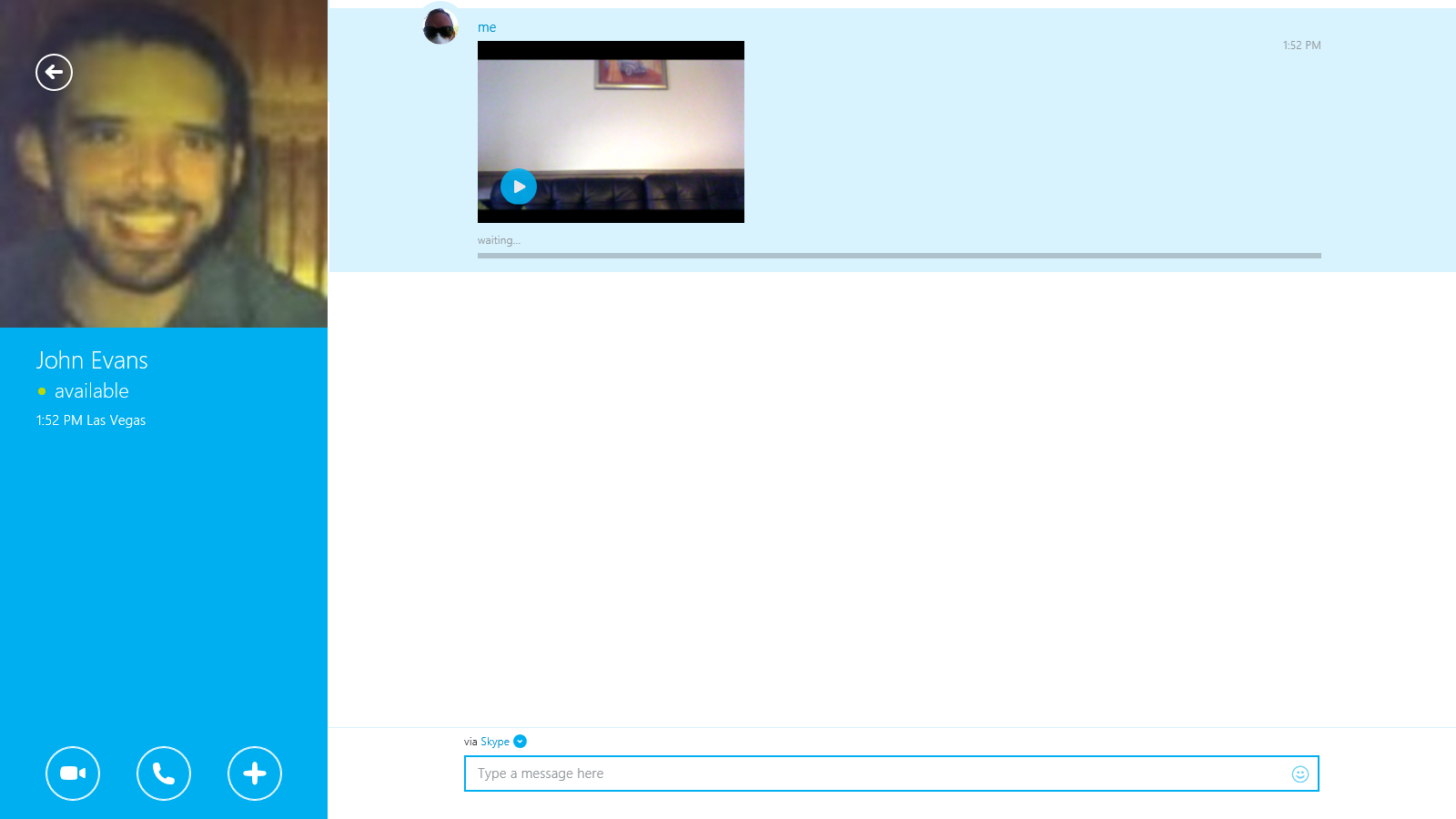 The video message displayed in the conversation window.