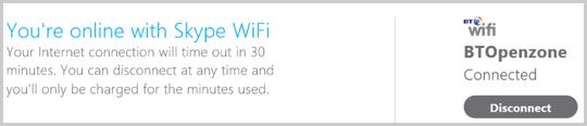 Pulsante Disconnetti nella finestra di notifica di Skype WiFi.