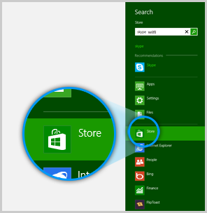 The Store icon selected in the search results on the right side of the Start screen.