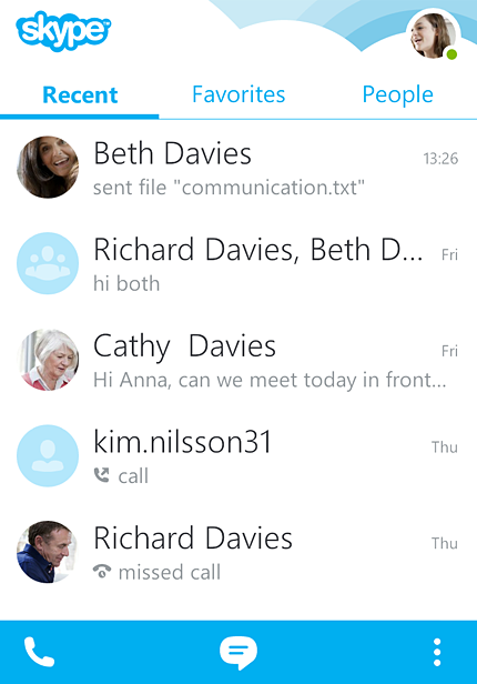 The main screen of Skype 4 for Android phones