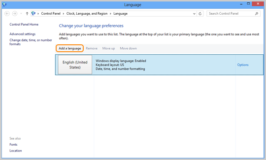 Add a language selected in the Language window.