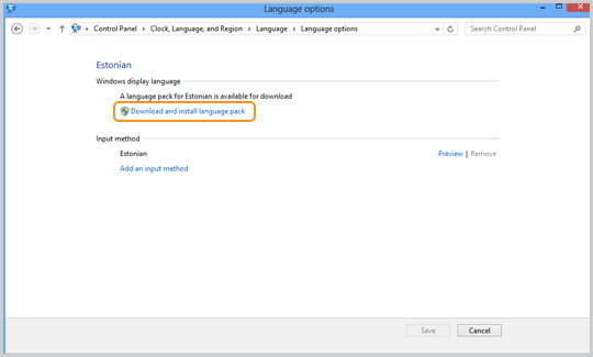 The Download and install language pack option to be selected to install the language.